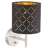 Wand Lampe Textil schwarz Arbeits Wohn Zimmer Beleuchtung Schalter Leuchte schwarz gold GLOBO 15229W