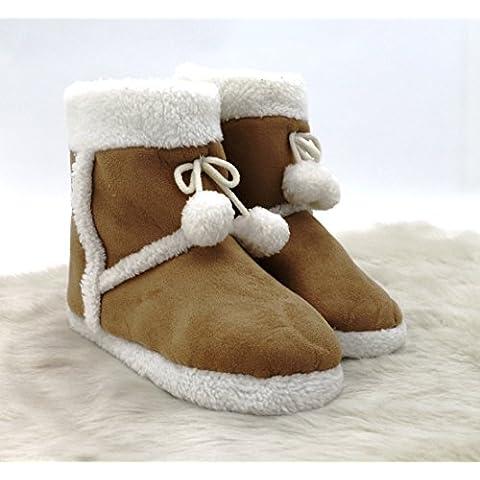 Cabaña Zapatos Zapatillas Alcantara aspecto de piel Botas con Pelo & pompón supercómoda con antideslizante suela Cómodo y Comfort LIEBEVOLL perfectamente. Botas de invierno typ381, poliéster, marrón claro, Größe 41