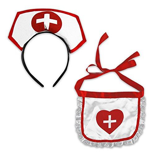 Set Krankenschwester Kostüm - Hausmädchen und Krankenschwester Kostümset Zubehör 2teilig für Karneval (Krankenschwester)