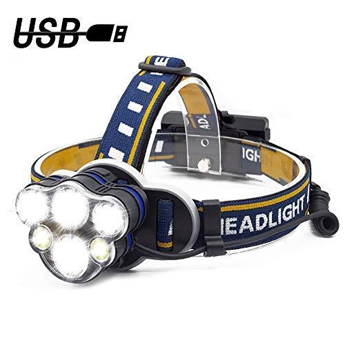 Seelast LED Stirnlampe, Superheller Kopflampe 5000LM 6 LED 8 Modi Wasserdicht USB Wiederaufladbar Stirnleuchte mit Sicherheitslicht für Wandern Camping Spazieren Joggen Klettern