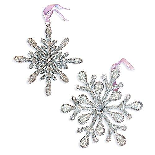 Loberon Weihnachtsschmuck 2er Set Fleurey, Eisendraht/Glasperlen, H/B ca. 15/15 cm, Silber/klar