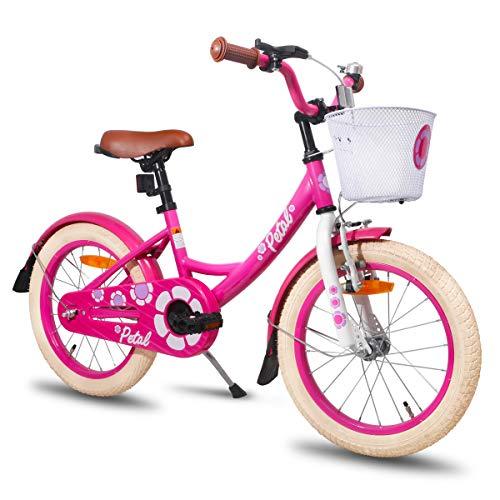 HILAND Petal 16 Zoll Kinderfahrrad für Mädchen 4-7 Jahre mit Korb, Ständer, Handbremse und Rücktritt Pink