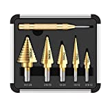 Stufenbohrer, Tacklife PDH06A Stufenbohrerset, 50 in 5, Automatischer Zentrierstempel, Schnellarbeitsstahl, Hex Shank Pagoda mit insgesamt 50 Größen, Doppelschneidklingen- Design, im Aluminiumkoffer
