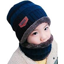 Kfnire Cappello e Sciarpa per Bambini Inverno Set Cappello Caldo Lavorato a  Maglia a Maglia Spessa 286a2238a96a