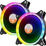GOLDEN FIELD Solar Halo Ultra Quiet Lager 120mm LED Lüfter für PC Computer Desktop-Gehäuse CPU Kühler Mehrfarbig 2PCS