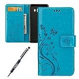 JAWSEU Blumen Muster Blau Schutzhülle für Samsung Galaxy