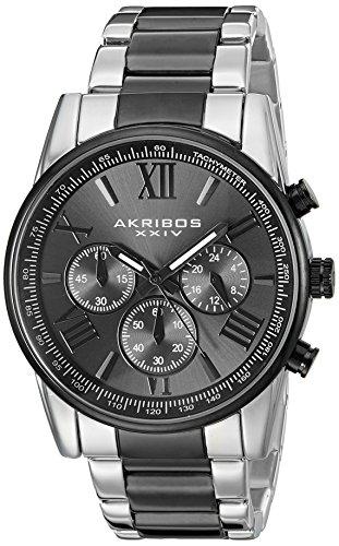 Akribos XXIV AK865TTB Men's Round Black-Dial Chronograph Quartz Black and Silver Tone Bracelet Watch