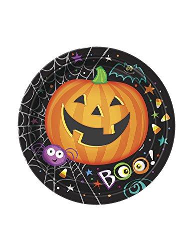 8 Stk. Partyteller Pumpkin Pals 18cm - Pappteller Halloween Kürbis Party Spooky Grusel (Spinnen Halloween Pappteller)