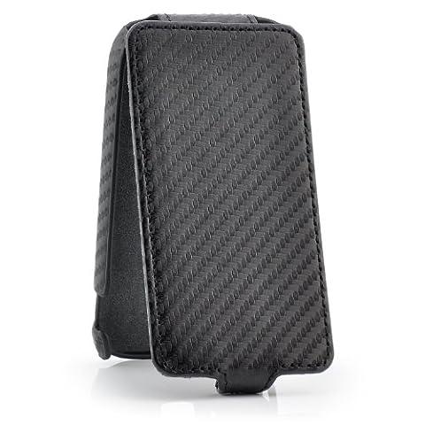 Saxonia Samsung Galaxy Ace 2 Coque Flip Cover Case Mince Premium Housse Etui de Protection Recto-Verso Carbon Style Noir