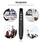 #9: Sufi World Latest Updated USB Wireless Presentation Pointer Pen Remote Control Professional Laser Pen with infrared Pointer Presenter Slide Changer PPT Powerpoint Page Up and Down Controller Range 50 Ft (Black)