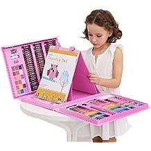 Set de manualidades de 176 piezas para niños con ceras pastel al óleo,crayones de cera, lápices de colores, acuarelas, rotuladores de colores, caballete para pintura rosa