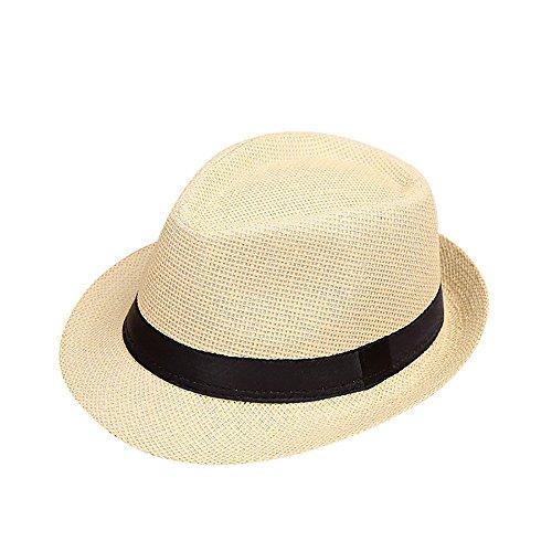 Lonshell Fedora Hut Kinder Mädchen Junge Mode Jazz Panama Mütze Kappe Strand Sonnenhut Faltbarer Trilby Gangster Hut mit Sonnenschutz breite Krempe (E)