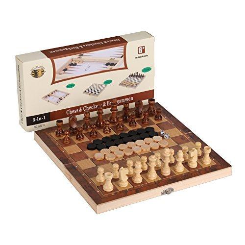 3-in-1 faltende Reise Schach & Schachfiguren & Backgammon Holz Schach-Set von Joview für Kinder oder Erwachsene Schach Brettspiel (Holzfarbe, 11.5X11.5X0.8Zoll)
