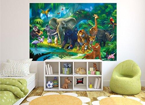 GREAT ART Fototapete Kinderzimmer Dschungel Tiere Zoo Dekoration ...