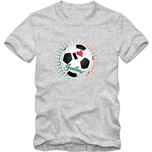 Irland WM 2018#6 T-Shirt | Éire | Fußball | Herren | The Boys in Green |Trikot | Nationalmannschaft, Farbe:Graumeliert (Grey Melange L190);Größe:XXL -