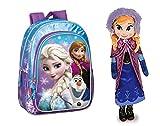 DIESNEY: Pack Mochila infantil Mochila FROZEN SNOW DOTS 37 CM + PELUCHE PRINCESA ANNA 40 CM.