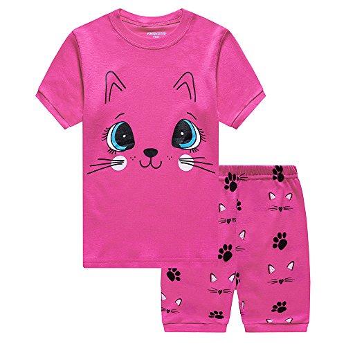 Girls Pyjamas Set Short Sleeve Toddler Clothes Cotton Sleepwear Girls Nightwear Kids Cat PJS 2 PCS for Summer Little Baby 1-7 Years