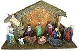 Weihnachtskrippe beleuchtet und mit Musik - Krippenspiel aus Holz mit handbemalten Figuren - mit 10 Lampen - Lichthaus - Krippe