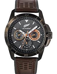 All Blacks - 680274 - Montre Homme - Quartz Analogique - Cadran Noir - Bracelet Cuir Bicolore