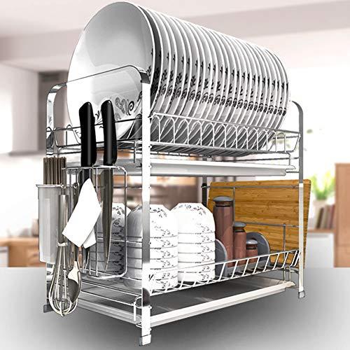 Dish Rack, Küche 2 Tier Plate Dish Cutlery Cup Rack, Metal, Küchenveranstalter Rack, 49 * 24.5 * 38.3cm Metal Plate Rack