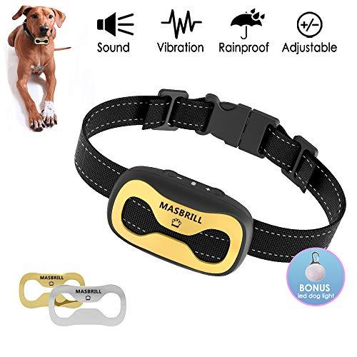 MASBRILL Antiladridos para Perros-Adiestramiento Sin Descarga Eléctrica Collar, Automático Perro Ladrando Dispositivo Disuasorio Vibración Audibles para Perros Pequeños y Medianos