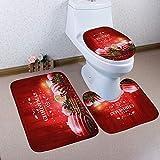 Carpet Set TAOtTAO Weihnachten 3pcs rutschfeste Badematte Badezimmer Küche Teppich Fußmatten Dekor (B)