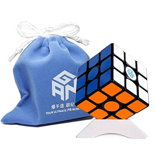 FunnyGoo Ganspuzzle Gan 356 Air Pro Gans Gan356 Air Pro Speed Cube 3x3 Magic CubeSpeed Cube 3x3 Magic Cube 3x3x3 Puzzle Spielzeug Schwarz mit Einem Cube-Beutel und Einem Cube-Stand Gans Stand
