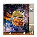Gnzoe Polyester Duschvorhang Stern Hamburger Katze Muster Design Bad Vorhang Mehrfarbig für Badezimmer/Badewanne 150x200CM
