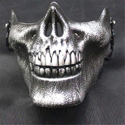 XuBa Cool Skull CS Full Face Mask Bike Motorrad Outdoor Game Sport Schutzkleidung für Halloween Party, Silber