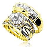 Et son lot de 2alliances diamant or 10K 0.5ctw diamants Halo style type d'article: wedding-ring-sets métal type: 10K jaune type de pierre: white-diamond Lot de 3mesures: 19mm Lot de 2alliances pour homme et femme en véritables diamants et ...
