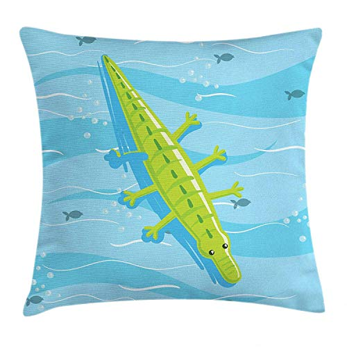 shizh Dekokissen Kissenbezug Strand-Ferien-Thema aufgeblähtes Krokodil, das auf blauem Meerwasser Sich entspannt Pillow Case 45x45 cm,Hellblau und Gelbgrün