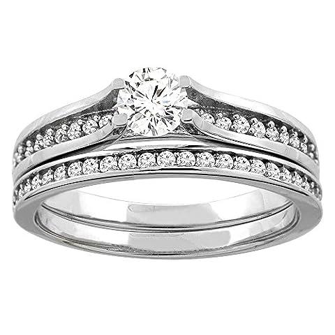 Revoni 14 Karat Weißgold 3-Stein Brillantschliff Ring Diamant mit Diamanten CW425D35369