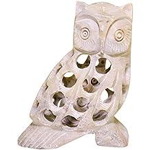 gufo statua - 7.9 cm - pietra ollare - avorio colore - casa arredamento accessori