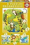 Educa Borrás - Animales Salvajes, Set de 4 Puzzles progresivos de 12,...