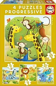 Educa Borrás - Animales Salvajes Set de 4 puzzles progresivos de 12, 16, 20 y 25 piezas (17147)