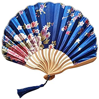 MEETEW Hand Held Folding Fans Paper Bamboo Frame with Tassels 100% Handmade Oriental Chinese/Japanese Vintage Retro Style