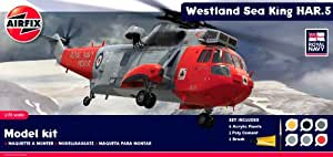 Airfix A50113 Royal Navy Westland Sea King HAR.5 1:72 Scale Military Aircraft Diorama Gift Set with Paint Glue and Brushes