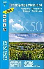 UK50-7 Fränkisches Weinland: Würzburg, Schweinfurt, Kitzingen, Maindreieck (UK50 Umgebungskarte 1:50000 Bayern Topographische Karte Freizeitkarte Wanderkarte)
