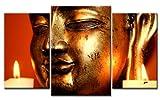 TOP XXL Bild auf Leinwand BUDDAH KOPF BILDER 3 Teile Art-Nr. AMXL30375 GOLD Bilder fertig gerahmt auf echtem Keilrahmen. Kunstdruck als Wandbild auf Rahmen. Günstiger als Ölbild Gemälde Poster Plakat mit Bilderrahmen RIESIG! Günstig MADE IN GERMANY!