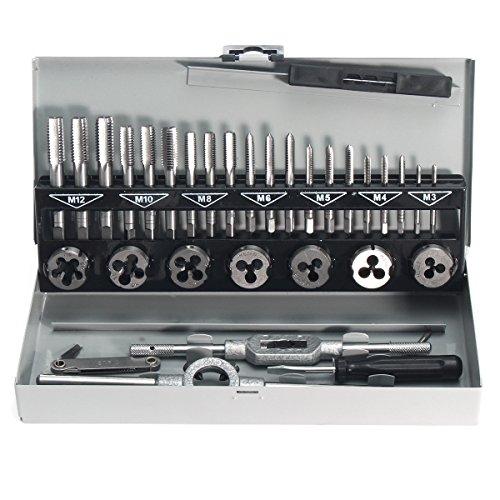 MASUNN 32Pcs Pro Metrischer Hahn-Schlüssel Und Sterben M3-M12 Legierungs-Stahlentferner-Handwerkzeug-Satz (Pro Schlauchboot)