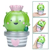 Yusealia Squishy Toy Jumbo Kawaii Squishise Cute Cream Scented Slow Rising Squishies Charms For Kids Adults Gift,Lovely Toy Cell Phone Straps Key Chains Decor (2# Cactus 14CM)