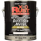 A USA Made Product X-O Rust Professional Rust Preventative Enamel Paint, Direct to Metal, Oil-Base Gloss, Gloss White, Interior/Exterior, 1 Gallon