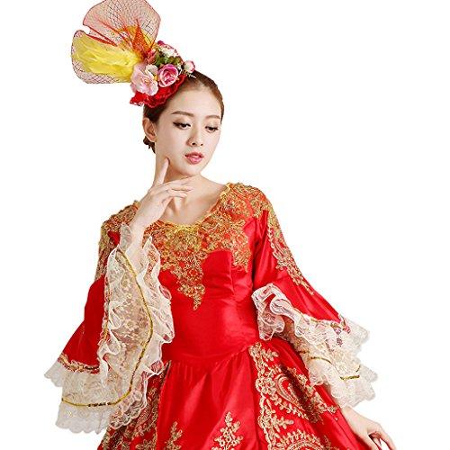 Cosplayitem Damen Mädchen Lagerter Gothic viktorianischen Kleid Kostüm Abendkleid Palace Maskerade Königin Prinzessin Kleid Rot