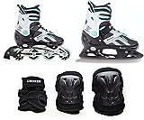 Croxer 2in1 Schlittschuhe Inline Skates Inliner Raven Pulse Black/Mint 40-43 (25,5-28cm) Verstellbar + Schützer Beetle Black L