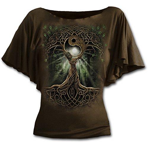 Spiral Oak Queen Camiseta Mujer Marrón XL