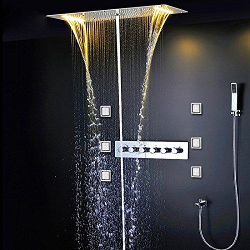 WEITING Verdeckte Dusche Thermostat Armaturen SUS304 mit eingebetteten Decke LED Dusche Kopf 380x700mm regen Nebel Tülle 4'' Body Jet