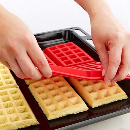 CFPACR Umweltfreundliche 4-Hohlräume Waffeln Kuchen Schokoladen Pfannkuchen Silikon-Form Backen Schimmel-rot