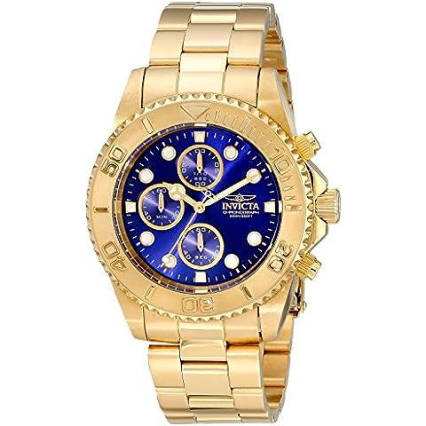 Invicta da uomo 18 k, lunghezza: 45 mm, placcato oro, con quarzo, quadrante & Case 19157-Orologio cronografo da uomo, colore: blu - 18k Quadrante Blu
