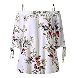 Overdose Mode Damen Sommer Schulterfrei Oberteile T Shirt Plus Size Blumendruck Bluse Casual Tops Camis(Weiß,4XL)
