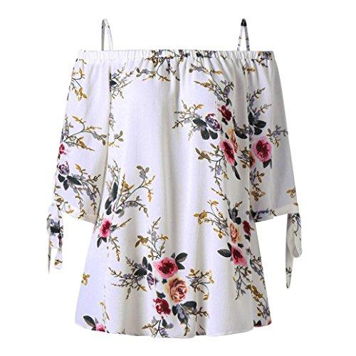 Overdose Mode Damen Sommer Schulterfrei Oberteile T Shirt Plus Size Blumendruck Bluse Casual Tops Camis(Weiß,3XL)
